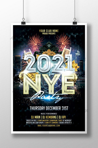Templat poster pesta malam tahun baru 2021 Templat PSD