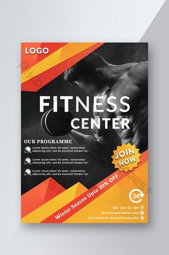 Affiche de flyer du centre de fitness gym Modèle PSD