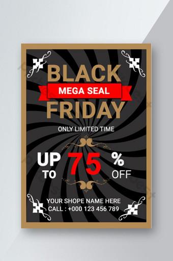 Modèle de Flyer d'offre de vendredi noir coloré créatif moderne rouge et noir Modèle PSD