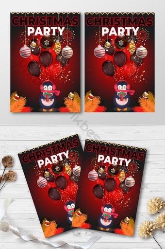 conception élégante de cartes d'invitation de fête de Noël Modèle AI