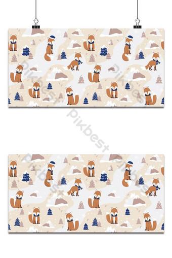 Patrón sin costuras de Navidad con fondo de zorro rojo Patrón de invierno papel de embalaje invierno Fondos Modelo EPS