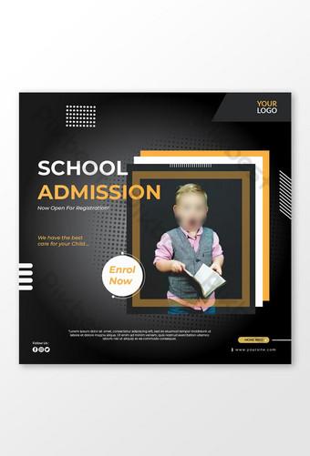 Admission à la conception de modèle de bannière Instagram scolaire Modèle AI