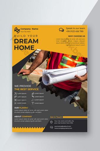 Construction de maison ou construction Flyer vector Template Construction Brochure design Modèle EPS