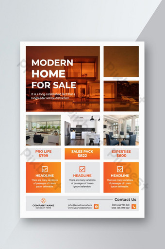 Conception de modèle de flyer immobilier avec modèle de couleur orange conception de flyer de vente de propriété Modèle AI