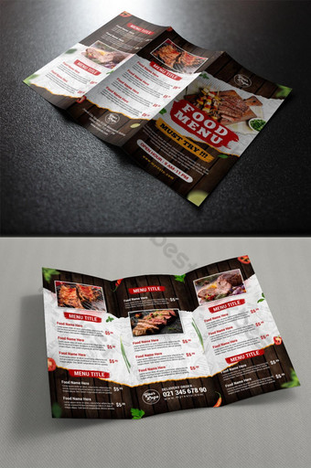 vintage style grilled food trifold menu template Template PSD