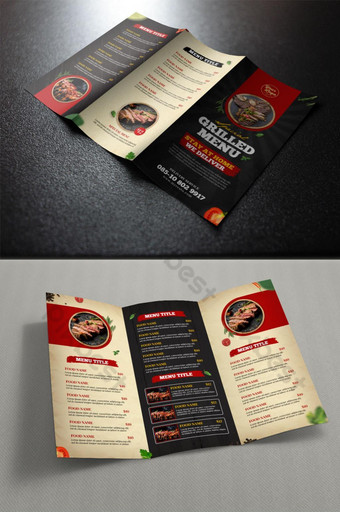 vintage style grilled trifold menu template Template PSD