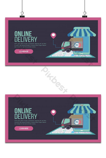 Online delivery service concept landing page with truck and staff service Backgrounds Template AI