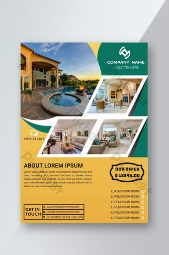 Le modèle de vecteur de flyer immobilier peut être utilisé pour promouvoir votre propriété 04 Photo du produit Modèle EPS
