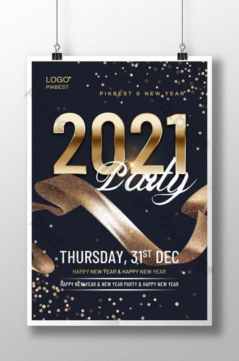 desain emas hitam poster pesta tahun baru 2021 Templat PSD