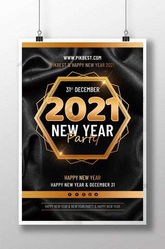 poster pesta tahun baru emas hitam 2021 Templat PSD
