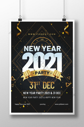 Desain geometris poster pesta tahun baru 2021 Templat PSD