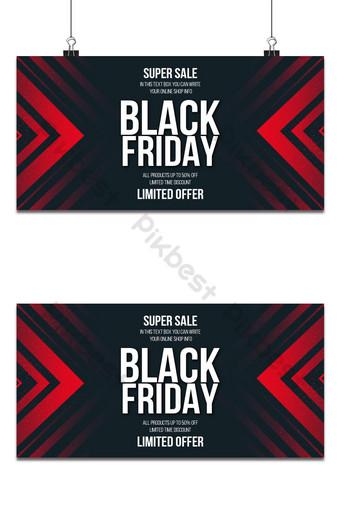Banner de super venta de viernes negro con fondo de formas rojas Fondos Modelo PSD