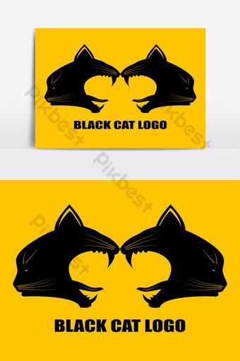 Logotipo de gato negro para empresa moderna Elementos graficos Modelo EPS