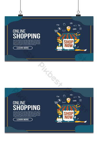 Online delivery shopping flat design with concept robot service Backgrounds Template AI