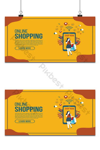 Online delivery shopping flat design with concept robot service. Backgrounds Template AI