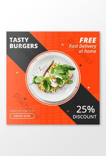 Banner de anuncios de comida para instagram Modelo PSD