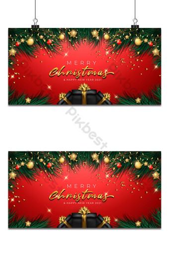 Carte de voeux joyeux Noël avec décoration Fond Modèle AI