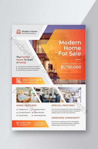 Dépliant immobilier créatif et propre pour les affaires immobilières et immobilières Modèle EPS