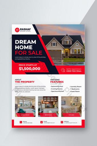 أنيقة العقارات التجارية المنزل الحديث للبيع قالب تصميم النشرات قالب PSD