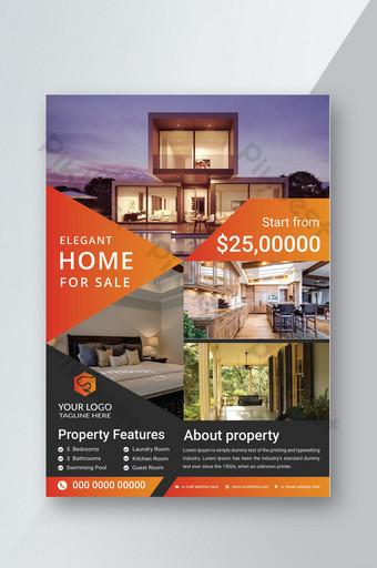 Élégante maison à vendre conception de modèle de flyer immobilier Modèle AI