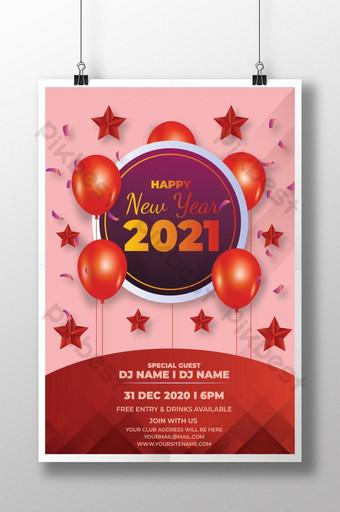 Poster selamat tahun baru 2021 dengan warna merah Templat PSD