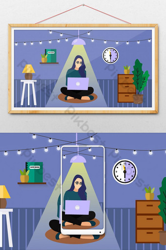 Working From Home Flat Vector Illustration Template AI