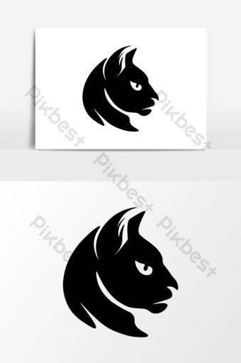 diseño de elemento de gato negro único Elementos graficos Modelo AI