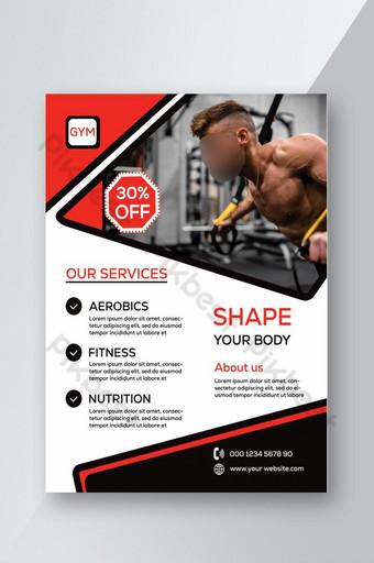 pamflet gym yang dirancang terbaru Templat PSD