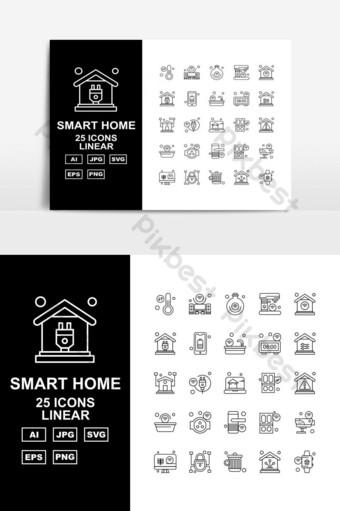Paquete de 25 iconos lineales de hogar inteligente premium UI Modelo AI