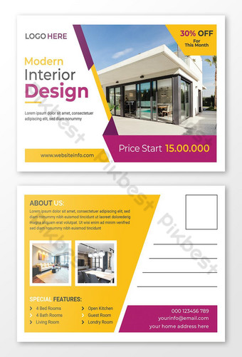 Modèle de conception de carte postale immobilière professionnelle Modèle AI