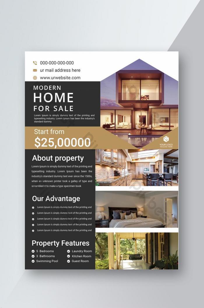projekt szablonu ulotki nieruchomości nowoczesny dom na sprzedaż