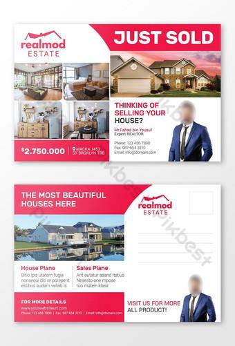 Conception de modèle de carte postale standard de l'immobilier vient de vendre pour l'immobilier Modèle PSD