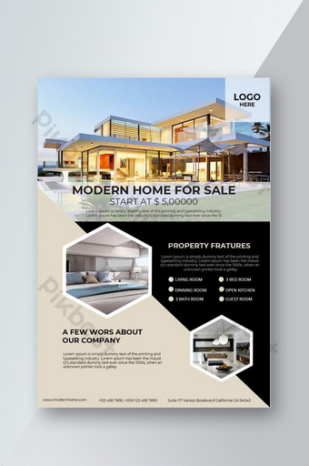 Modèle de conception de mise en page de flyer de vente immobilière Modèle PSD