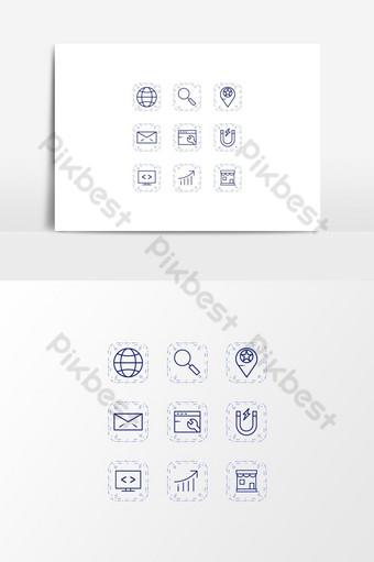Unique SEO Icon Set On Transparent Background  UI Template EPS