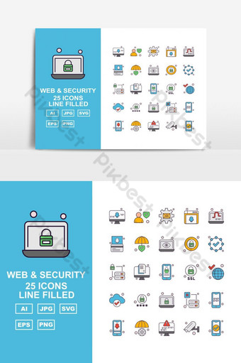 25 Premium Web And Security Line Filled Icon Pack UI Template AI