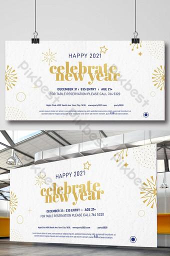 rayakan template desain spanduk tahun baru Templat PSD