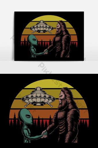 大腳怪和外星人的陰謀日落復古矢量圖 元素 模板 EPS