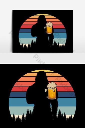 大腳怪剪影啤酒復古矢量圖 元素 模板 EPS