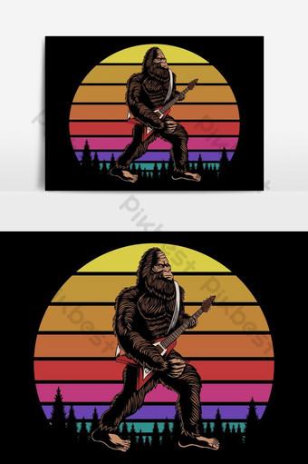 大腳怪彈吉他日落復古矢量圖 元素 模板 EPS