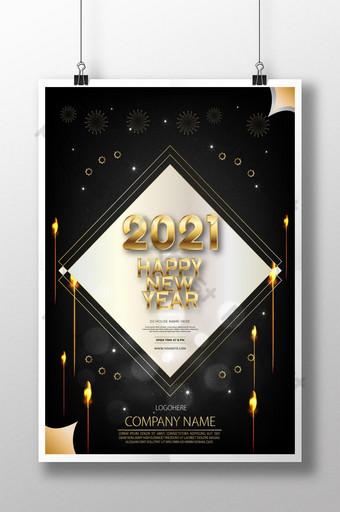 Desain poster selamat tahun baru 2021 Templat AI