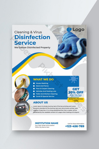 Cleaning and disinfection service flyer Template EPS