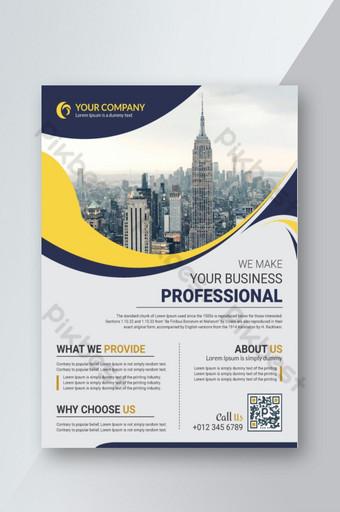 Modèle de conception de flyer entreprise jaune pour impression Modèle AI