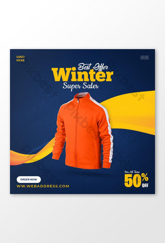 Modèle de publication sur les réseaux sociaux de vente de veste d'hiver Modèle PSD