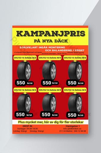 Leaflets selling car tires design Template PSD