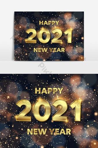 Bonne année 2021 Effet de texte d'entreprise coloré modifiable Éléments graphiques Modèle EPS