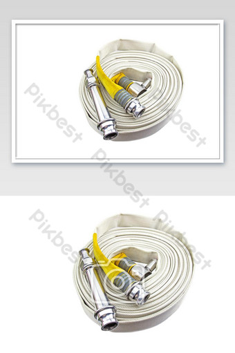 Yellow fire hose coil isolated on the white background. Photo Template JPG