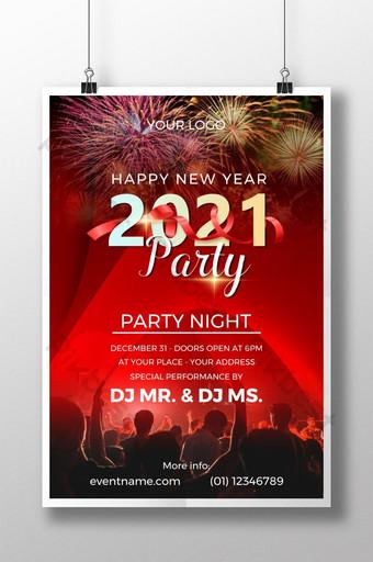 poster pesta tahun baru 2021 yang kreatif dengan latar belakang warna merah Templat PSD