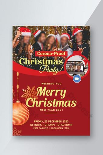 Conception de flyer de fête de Noël rouge anti-corona Modèle EPS