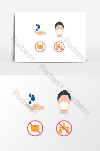 png iconos de salud elemento máscara y equidad para combatir el diseño gráfico del coronavirus Elementos graficos Modelo EPS