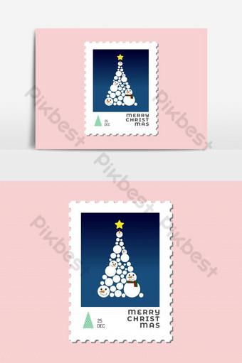 Arbre de Noël par bonhomme de neige design plat de timbre de Noël pour carte de voeux Éléments graphiques Modèle PSD